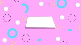 Einfacher abstrakter rosa Hintergrund mit modische geometrische Farbretro- Elementen Geschlungene Bewegungsgraphik lizenzfreie abbildung