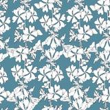Einfacher Blumenhintergrund mit wei?en Blumen auf einem blauen Hintergrund Gezogene Blumenbeschaffenheiten Blaue Verzierung, zum  lizenzfreie abbildung