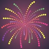 Einfacher bunter Dots Fireworks. Lizenzfreie Stockbilder