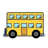 Einfacher Bus mit zwei Böden auf weißem Hintergrund Stockfotos