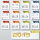 Einfacher editable Vektorkalender 2015 Stockfotos