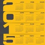 Einfacher editable Vektorkalender 2015 Stockfotografie