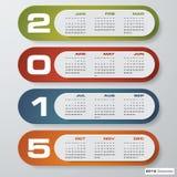 Einfacher editable Vektorkalender 2015 Stockfoto