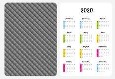 Einfacher englischer Vektor-Taschen-Kalender 2020-j?hrig stock abbildung