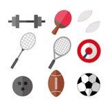 Einfacher flacher Art-Sport Eqipments-Vektor-Illustrations-Grafik-Satz Lizenzfreie Stockfotos