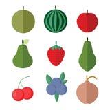 Einfacher flacher Frucht-Vektor-Illustrations-Satz Lizenzfreies Stockbild