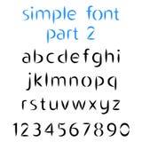 Einfacher Guss, das zweite Teil Kleinbuchstaben und Zahlen Lizenzfreies Stockbild