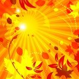 Einfacher Herbstschablonen-Vektorhintergrund mit Fliegen verlässt Lizenzfreie Stockfotos