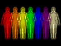 Einfacher Hintergrund mit farbiger menschlicher Energiekarosserie Stockfotos