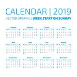 Einfacher 2019-jähriger Kalender Lizenzfreie Stockbilder