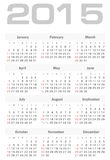 Einfacher Kalender für 2015-jährigen Vektor Lizenzfreies Stockbild