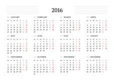 Einfacher Kalender für 2016 12 Monate Woche beginnt Montag lizenzfreie abbildung