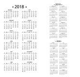 Einfacher Kalender für 2018 und 2019, 2020 Jahre Schablonendatumstagesdesignmonatsgeschäftsorganisatorplaner-Vektor Lizenzfreie Stockbilder