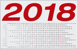Einfacher Kalender für 2018 Zahlen innerhalb eines Gitters Lizenzfreies Stockfoto
