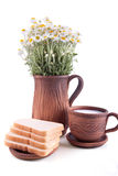 Einfacher ländlicher Frühstückssatz Lizenzfreie Stockfotografie