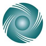 Einfacher Logo Circle blau und vier Gegenstand 3D Stockbild