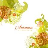 Einfacher mehrschichtiger Herbst färbt abstrakten Blumenwinkelrahmen Stockbild