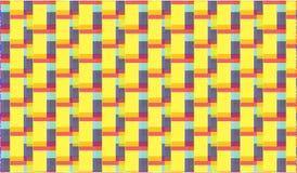 Einfacher moderner abstrakter purpurroter und gelber Zickzack deckt Muster mit Ziegeln Stockfotos
