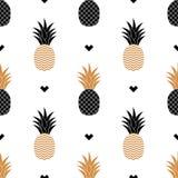 Einfacher nahtloser Hintergrund mit einem Bild der goldenen Ananas Vektor Lizenzfreie Stockbilder
