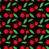 Einfacher netter nahtloser Vektorschwarzhintergrund von Kirschen ländliche Verpackungsgestaltung Cherry Jam lizenzfreie abbildung