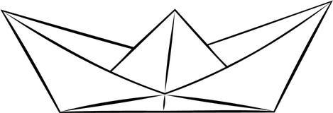 Einfacher Papierschiffseberorigami, Schwarzweiss-Vektor stockfoto