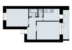 Einfacher Plan, der eine Schlafzimmerwohnung mit Klempnerarbeit zeichnet Stockfoto