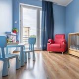 Einfacher Raum des blauen Babys Lizenzfreie Stockfotografie