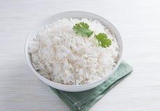Einfacher Reis in der runden Schüssel Stockfotografie