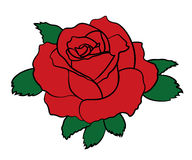 Einfacher Rotrosen-Fleckenaufkleber mit schwarzem Anschlag Blumenikonenzeichen Auch im corel abgehobenen Betrag Lizenzfreies Stockfoto