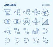 Einfacher Satz Analyse diagramme Vektorlinie Ikonen stockfotografie