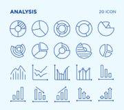 Einfacher Satz Analyse diagramme Vektorlinie Ikonen lizenzfreie stockfotos