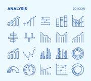 Einfacher Satz Analyse diagramme Vektorlinie Ikonen lizenzfreie stockbilder