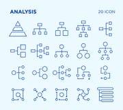 Einfacher Satz Analyse diagramme Vektorlinie Ikonen lizenzfreie abbildung
