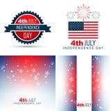 Einfacher Satz der amerikanischen Unabhängigkeitstaghintergrundillustration Lizenzfreie Stockbilder