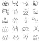 Einfacher Satz der in Verbindung stehenden Vektor-Geschäftsleute Linien-Ikonen Stockfotografie
