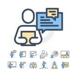 Einfacher Satz der in Verbindung stehenden Vektor-Geschäftsleute Linien-Ikonen Enthält solche Ikonen wie Einzel- Sitzung, Arbeits Lizenzfreie Stockbilder