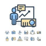 Einfacher Satz der in Verbindung stehenden Vektor-Geschäftsleute Linien-Ikonen Enthält solche Ikonen wie Einzel- Sitzung, Arbeits Lizenzfreies Stockbild