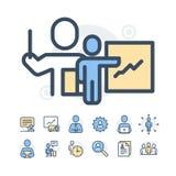 Einfacher Satz der in Verbindung stehenden Vektor-Geschäftsleute Linien-Ikonen Enthält solche Ikonen wie Einzel- Sitzung, Arbeits Lizenzfreies Stockfoto