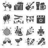 Einfacher Satz des Partei-in Verbindung stehenden Vektors Gray Icons lizenzfreie abbildung