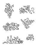 Einfacher Satz Wein-Ikonen Linie Kunst Schließt solche Ikonen, die Trauben, Flasche Wein mit Aufkleber, Traube verlässt, Weinberg Lizenzfreie Stockbilder