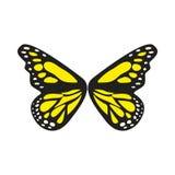Einfacher Schmetterling Logo Vector mit blauer und schwarzer Farbe Stockfoto