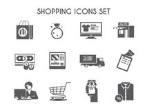 Einfacher schwarzer Einkaufsvektor-Ikonensatz Stockbilder