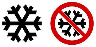 Einfacher schwarzer Schneeflockenikonen-Bedeutungswinter/kalt/Frost Auch Version in den roten Kreisdurchschnitten vektor abbildung