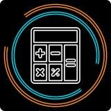 Einfacher Taschenrechner-dünne Linie Vektor-Ikone stock abbildung