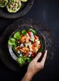 Einfacher und gesunder Salat der Garnele, der Mischgrüns und der Tomaten Lizenzfreie Stockfotos