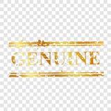 Einfacher Vektor, echt, goldener Stempel des Streifens, am transparenten Effekthintergrund stock abbildung