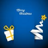 Einfacher vektorblaue Weihnachtskartenabbildung Stockfoto