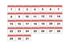 Einfacher Vektorkalender Eingestellt 31 Tage lizenzfreie abbildung
