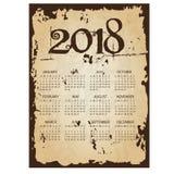 einfacher Wandkalender des Geschäfts 2018 mit heftigem altem Papierhintergrund eps10 vektor abbildung
