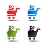 Einfacher Warenkorb, Laufkatze mit Geschenk, Einzelteil, Knopf Lizenzfreies Stockfoto